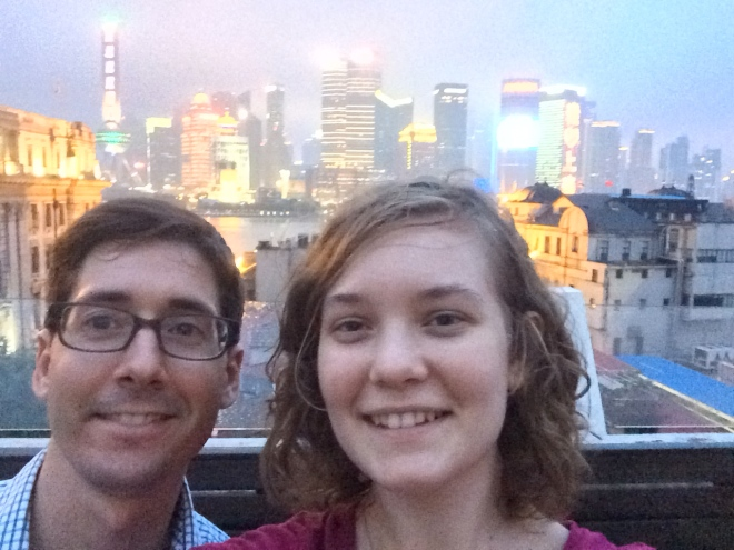 Derrick and I snapped a shot of us with the Shanghai skyline.
